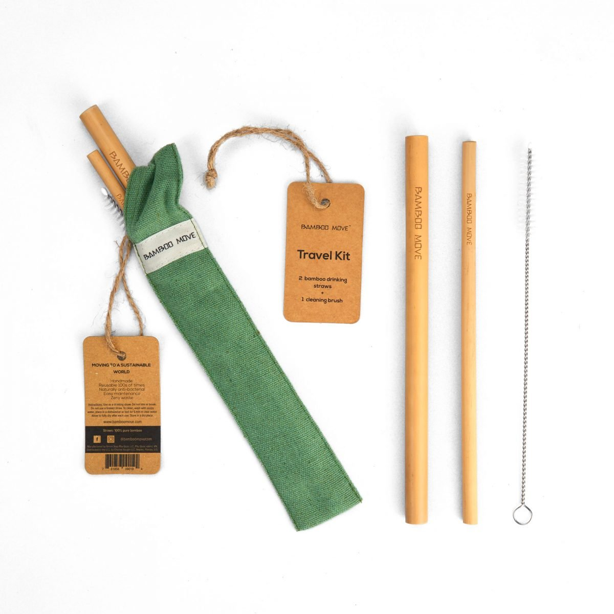 Bamboo Move Travel Kit - 2 bamboo straws in a fabric pouch